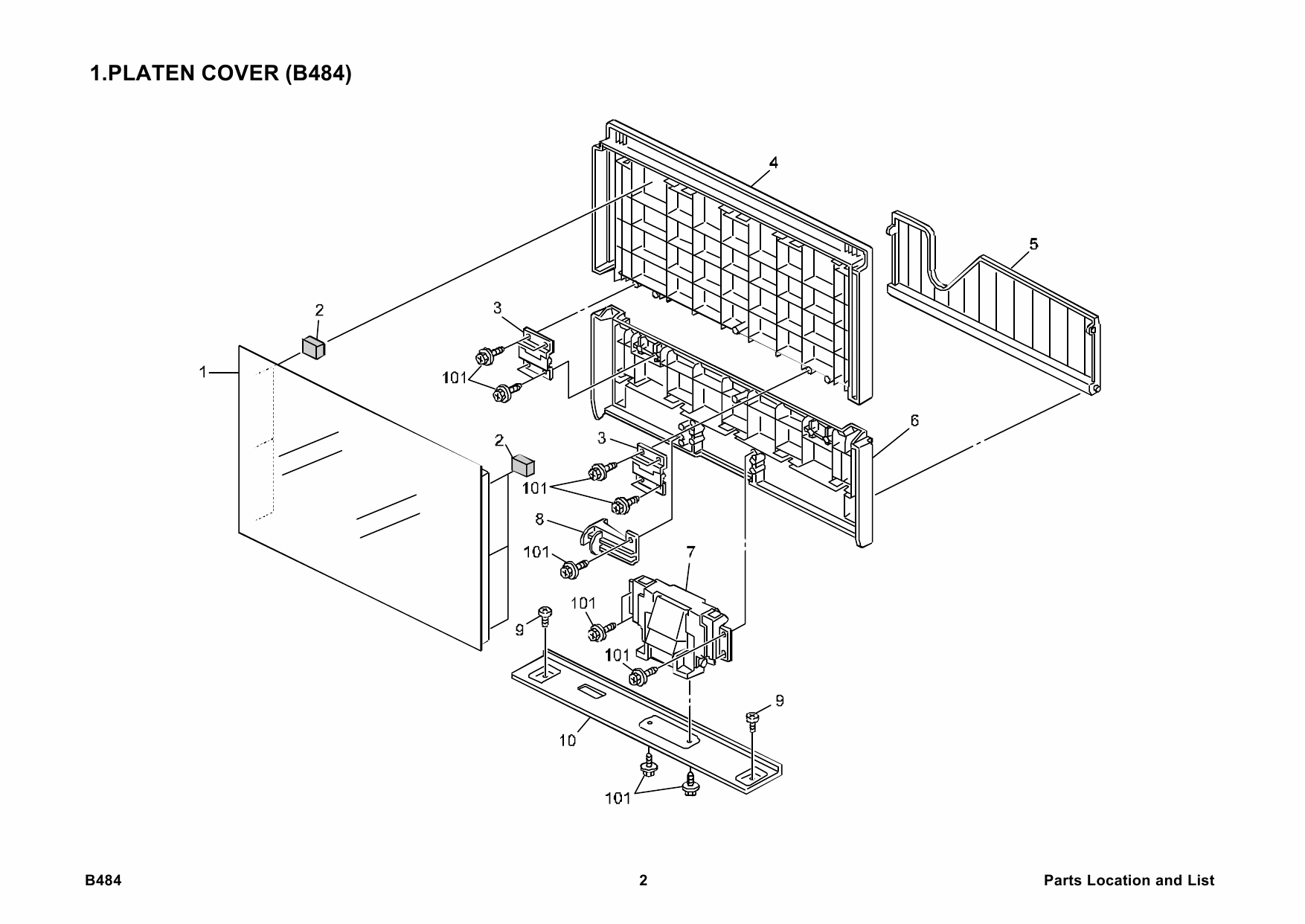 RICOH Options B484 PLATEN-COVER-TYPE-120 Parts Catalog PDF